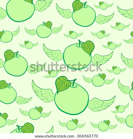 Seamless texture with winged green apples and a leaf - stock vector