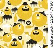 Seamless texture with yellow monsters. Vector pattern. - stock vector