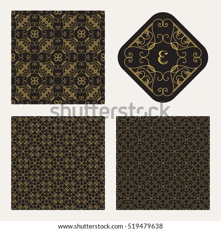 Seamless textures collection with vintage geometric ornament. Vector lineart patterns
