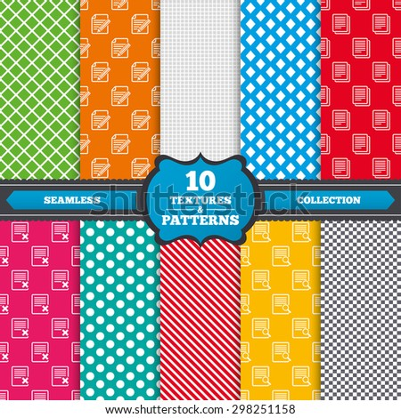 Seamless textures. File document icons. Search or find symbol. Edit content with pencil sign. Remove or delete file. Endless patterns with circles, diagonal lines, chess cell. Vector - stock vector
