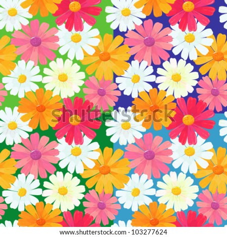 seamless textures of ox-eye daisy flowers - stock vector
