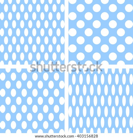 Seamless textures set. Circles and ellipses patterns. Vector art. - stock vector
