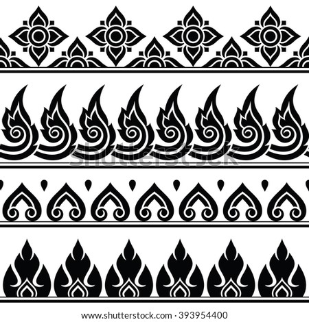 Seamless Thai pattern, repetitive design from Thailand - folk art style - stock vector