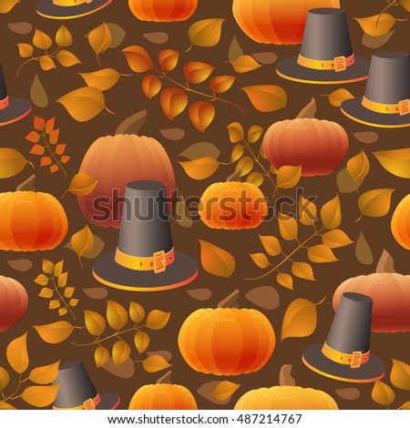 Seamless Thanksgiving day pattern with pumpkins, hats and leaves. Autumn vector background.  Decorative elements for your packaging design.