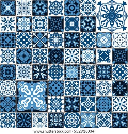 Seamless tile pattern colorful lisbon mediterranean stock for Blue patterned bathroom tiles