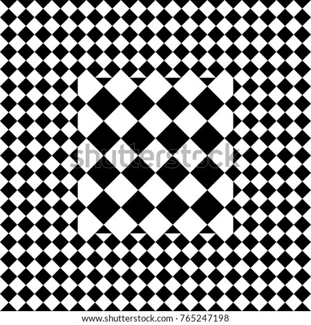 seamless tile with black white checked rhombus dots and decorative shape in center abstract element