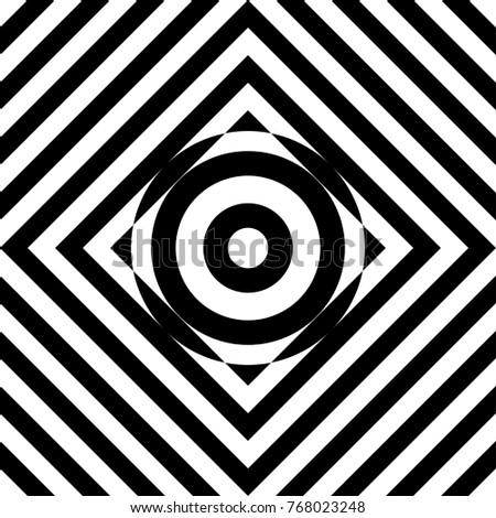 seamless tile with black white striped diagonal lines square and geometric shape in center