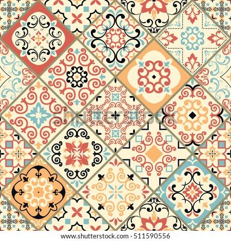 seamless tile colorful patchwork vintage multicolor stock vector 511590556 shutterstock. Black Bedroom Furniture Sets. Home Design Ideas