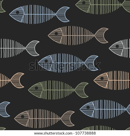 Seamless Tile With 50s Retro Fish Bone Pattern - stock vector