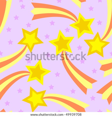 Seamless, tileable and fully repeatable vector illustration of colorful shooting stars - stock vector