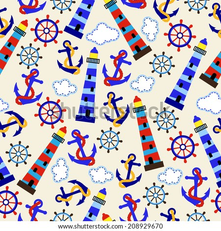 Seamless Tileable Nautical Themed Vector Background or Wallpaper - stock vector