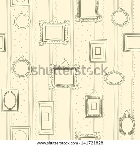 seamless tileable old vintage frames pattern - stock vector