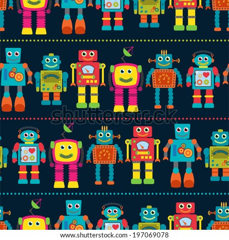 Seamless Tileable Vector Background Pattern with Cute Robots - stock vector