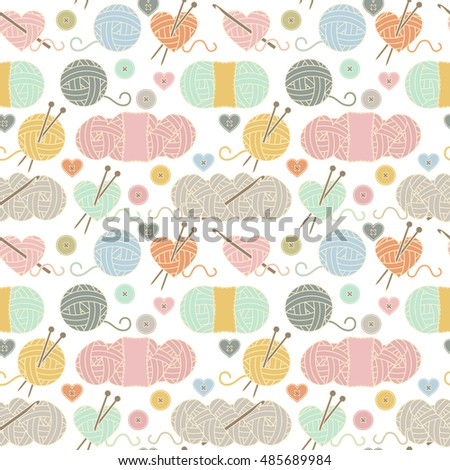 Seamless, Tileable Vector Background with Yarn, Knitting Needles and Crochet Hooks
