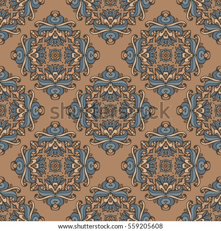 Seamless tiled damask pattern vector abstract background