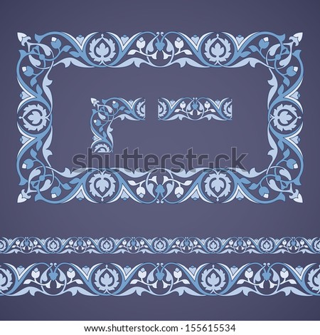 Seamless tiling border and frame with corner. Inspired by old ottoman ornaments - stock vector