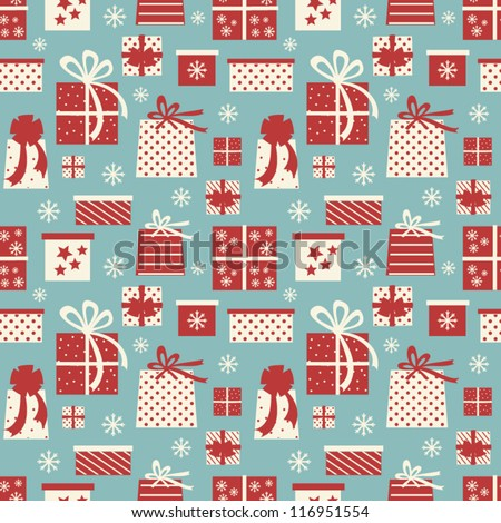 Seamless tiling pattern with Christmas presents. - stock vector