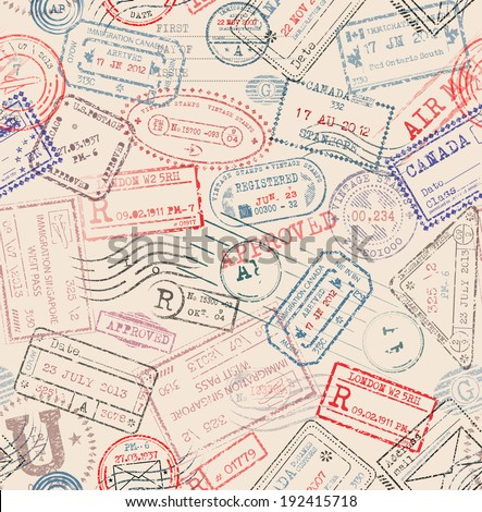 Seamless tiling postage themed pattern with vintage stamps - stock vector