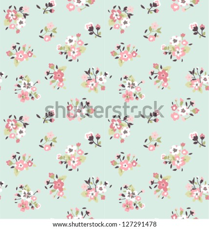 seamless tiny cute flower pattern background - stock vector