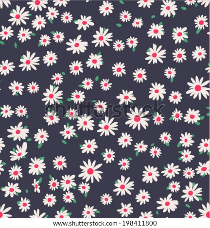 seamless tiny daisy vector pattern background