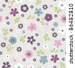 seamless Tiny floral pattern on grunge background wallpaper - stock
