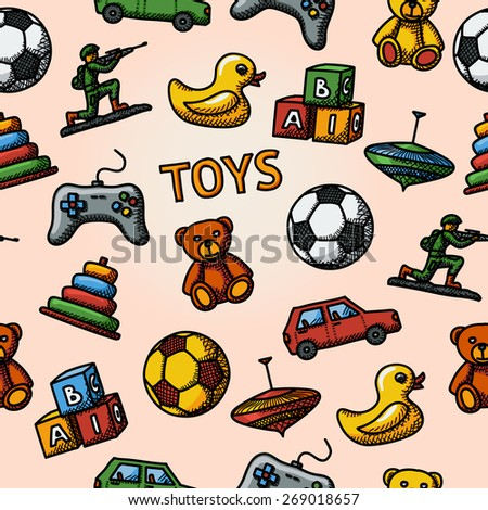 Seamless toys handdrawn pattern with - car, duck, bear, pyramid, ball, game controller, blocks, whirligig, soldier. Vector