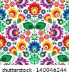 Seamless traditional floral polish folk pattern - ethnic background - stock vector