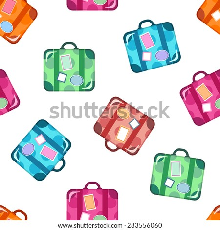 Seamless travel background with colorful luggage icons