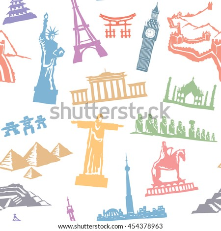 Seamless travel pattern. Vector background with monuments from all over the world