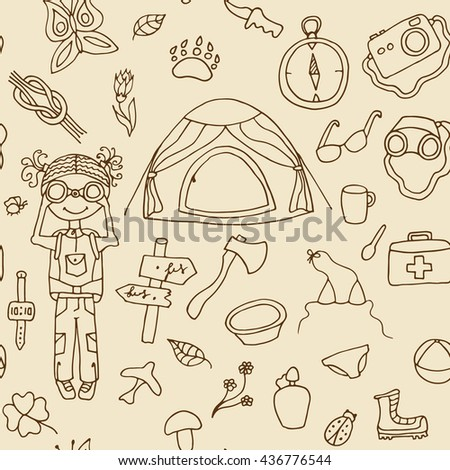 Seamless travel pattern. Vector doodle sketch. Hand drawn symbols of tourism and camping - tent, ax, binoculars, shoes, dishes . Background for use in design, packing, textile, fabric