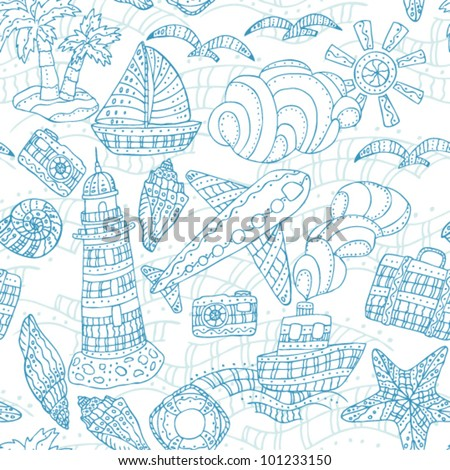 Seamless travel pattern with sea wave, airplain, suitcase, lighthouse, gull,  ship and lifebuoy - stock vector