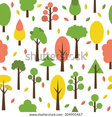 Seamless tree pattern in flat style. Cute background for your design. Vector illustration