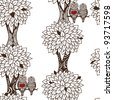 seamless tree pattern with owl couples in love with unusual graphic trunks and leavs which can be used as wallpaper - stock vector