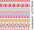 Seamless trend summer color aztec vintage folklore background pattern in vector  - stock vector