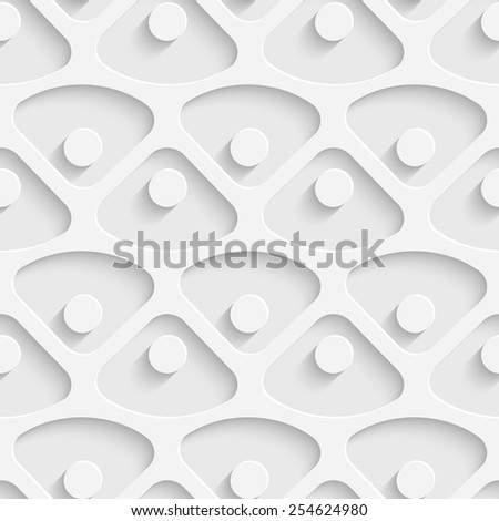 Seamless Triangle and Circle Pattern. Vector Soft Background. Regular White Texture