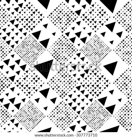 Seamless Triangle and Square Pattern. Abstract Monochrome Background. Vector Regular Texture - stock vector