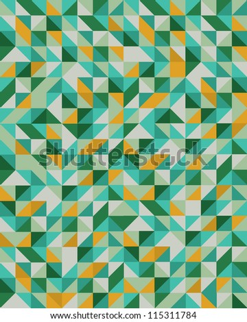 Seamless Triangle Mosaic Pattern - stock vector