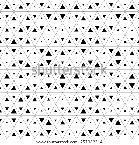 Seamless Triangle Pattern. Abstract Monochrome Background. Vector Regular Texture - stock vector