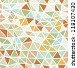 Seamless triangles pattern - light colors: blue, orange, pink, green, grey, red - stock vector
