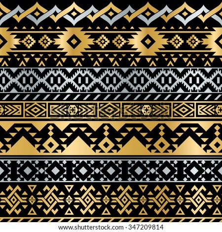 Seamless Tribal Metallic Pattern for Textile Design. Geometrical Ethnic Ornament in Flash Tattoo Style - stock vector