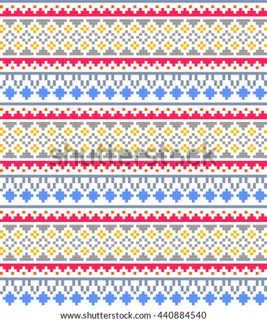 Seamless tribal ornament pattern background with zigzag, triangles and dots. Vector retro pixel art illustration.
