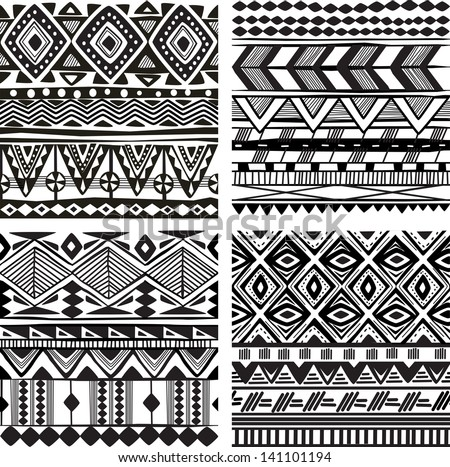 Seamless tribal texture - stock vector