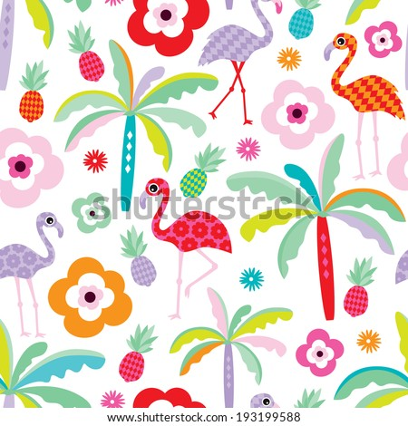 Seamless tropical flamingo and palm tree beach pattern illustration for kids background in vector - stock vector