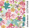 seamless tropical floral background vector pattern - stock vector