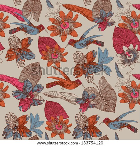 seamless tropical floral pattern with humming birds - stock vector