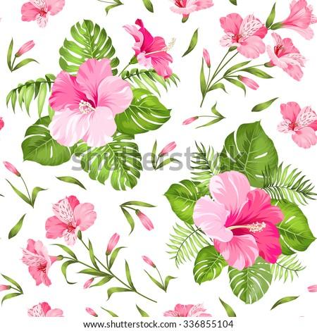 Seamless tropical flower. Blossom flowers. Seamless pattern background. Vector illustration. - stock vector