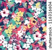 seamless tropical flowers,hibiscus ,cloth pattern,bikini,shirt,dress,jeans pattern,high fashion - stock vector