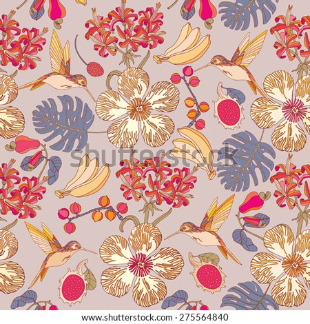 Seamless tropical flowers with bananas. Vector pattern background.