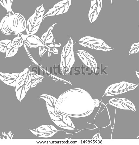 Seamless tropical fruit pattern in vector  - stock vector