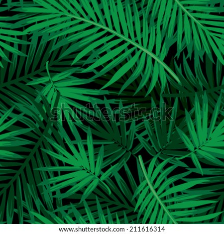 Seamless tropical jungle floral pattern with palm fronds. Vector illustration. - stock vector